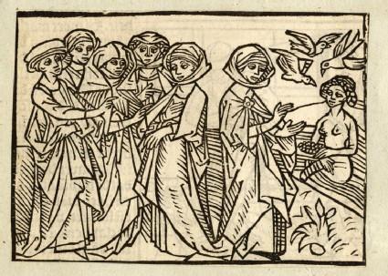 Recto: The poetess Sulpicia and Venus<br />Verso: Harmonia's nurse being killed, letterpress