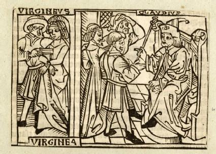 Recto: Verginia, Claudius and Verginius<br />Verso: letterpress