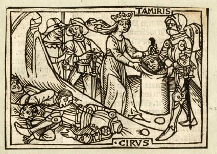 Recto: Tomyris Receiving the Head of Cyrus<br />Verso: letterpress