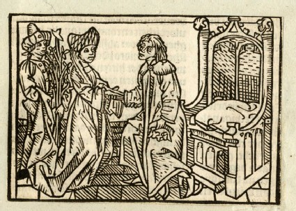 Recto: The Queen of Sheba and Solomon<br />Verso: letterpress