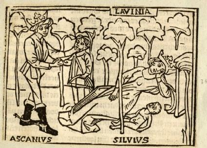 Recto: Ascanius, Lavinia and Silvius<br />Verso: letterpress