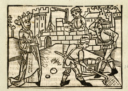 Recto: Dido supervising the building of Carthage<br />Verso: letterpress