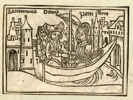 Recto: Helen and Paris on a ship to Troy<br />Verso: unidentified, laid down