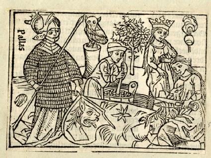 Recto: Minerva and Athena<br />Verso: letterpress