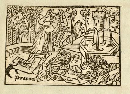 Recto: Pyramus and Thisbe<br />Verso: letterpress