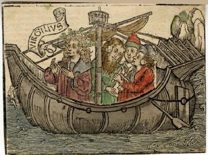 Virgil sailing in a ship