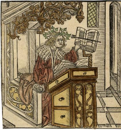 Horace crowned with laurel in his studio
