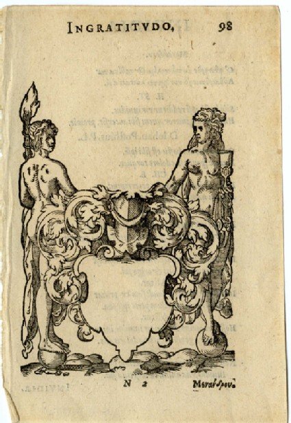 Recto: Empty shield flanked by female nudes standing on balls
