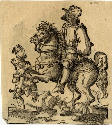 Recto: Man-at-Arms on horseback with a squire