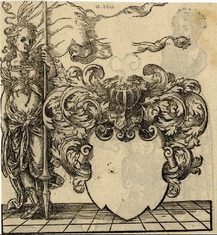 Recto: Woman with a Double Pennant Beside a Blank Escutcheon<br />Verso: A Woman and a Blank Escutcheon