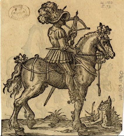 Recto: Gentleman with a Goblet and a Lady with a Wreath<br />Verso: A Knight in a Feathered Helmet Beside a Blank Escutcheon