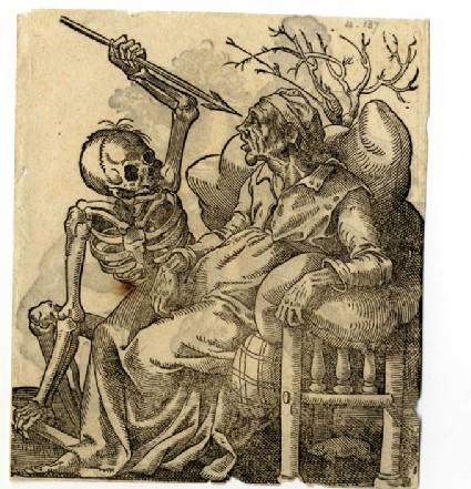 Recto: Death Attacking an Old Woman<br />Verso: A Cavalryman with Whip, Galloping to the Right