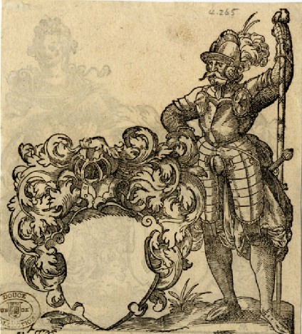 Recto: A Soldier in Armor Beside a Blank Escutcheon<br />Verso: Woman with Bowl and Pitcher Beside a Blank Escutcheon