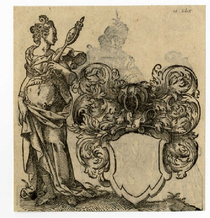 Recto: A woman with a mirror beside a blank escutcheon<br />Verso: A mounted gentleman holding a lady's hand