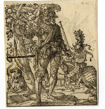 Recto: A Warrior in Armor with a Lion and Jouster in the background<br />Verso: A Merchant with a Fox, Port Scene in the Background