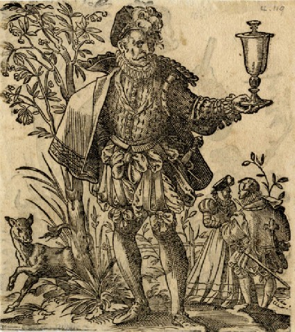 Recto:A Man with a Covered Goblet, a Faun and Lovers in the Background<br />Verso: A Hunter with a Dog and Bull, a Horseman Firing a Pistol in the Background