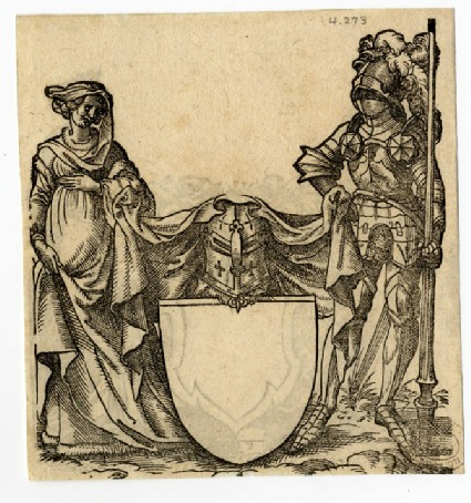 Recto: A Lady, a Knight in Armor, and a Blank Escutcheon<br />Verso: A Young Man, Lady with a Crown, and a Blank Escutcheon