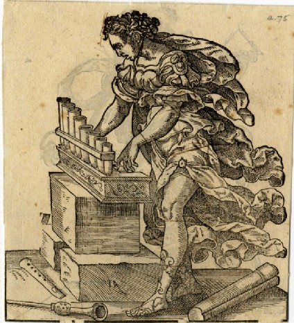 Recto: Woman playing a hand organ<br />Verso: Woman with a triangle