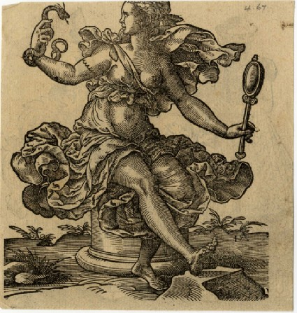Recto: Woman with a Mirror and a Serpent Representing Pride<br />Verso: A woman with an escutcheon