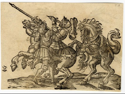 Recto: A Combatant Thrusting His Dagger into His Opponent's Open Helmet<br />Verso: A Combatant Thrusting His Sword Through His Opponent's Neck
