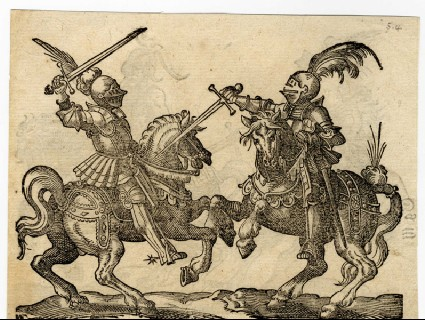 Recto: An Equestrian Combat with Swords<br />Verso: A Joust with Swords with a Combatant in Retreat