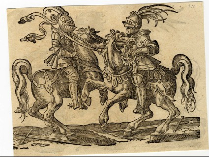 Recto: A Mounted Combatant Holds His Opponent by a Noose<br />Verso: A Jouster Securing His Opponent with a Hook