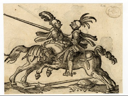 Recto: A Joust with one Lance on the Ground<br />Verso: A Jouster with His Sword Locked Around His Opponent's Neck