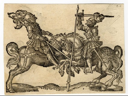 Recto: A Joust and a Free Standing Lance<br />Verso: A Joust with Lances Lowered and Crossed