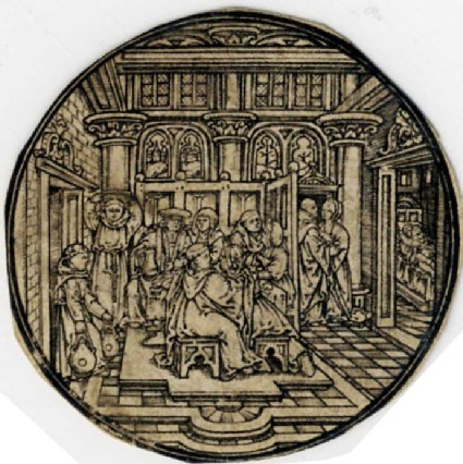 Monks and other men banqueting and courting women