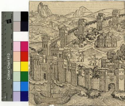 Recto: Portraits of Emperors<br />Verso: Constantinople, left half