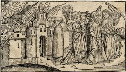 Destruction of Sodom and Gomorrah by an earthquake, with Lot's wife being turned to a pillar of salt