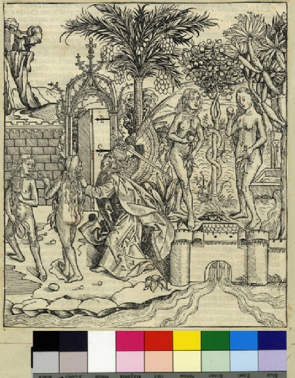Recto: The expulsion of Adam and Eve from the Garden of Eden<br />Verso: letterpress