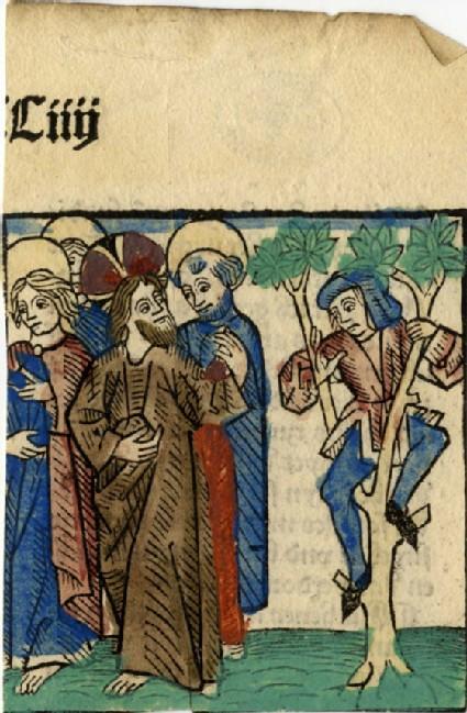 Recto: Jesus and Zacchaeus on a sycamore tree<br />Verso: Letterpress
