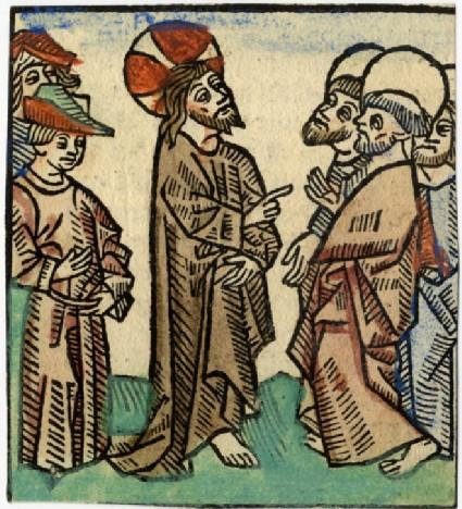Recto: Jesus, the Apostles and two men<br />Verso: Letterpress