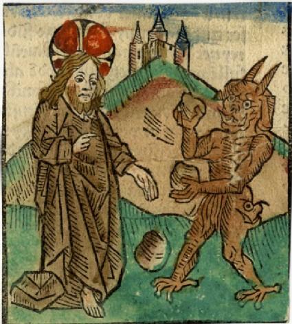 Recto: The devil tempting Christ<br />Verso: Letterpress