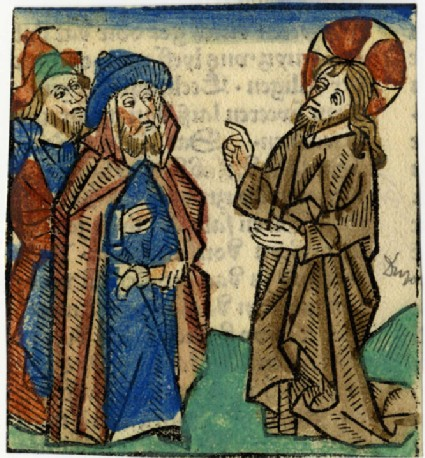 Recto: Christ talking to two men<br />Verso: Letterpress