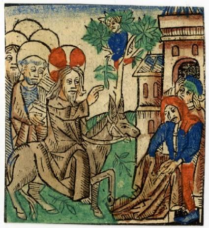 Recto: Christ entering Jerusalem<br />Verso: Letterpress