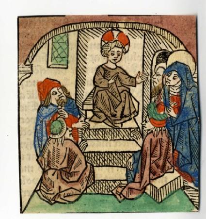 Recto: Christ preaching amongst the Doctors<br />Verso: Letterpress