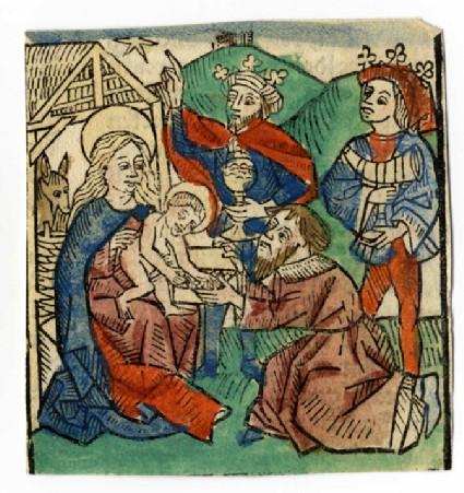 Recto: Adoration of the Magi<br />Verso: Letterpress