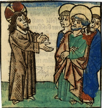 Recto: Christ showing his stigmata to the Apostles<br />Verso: Letterpress