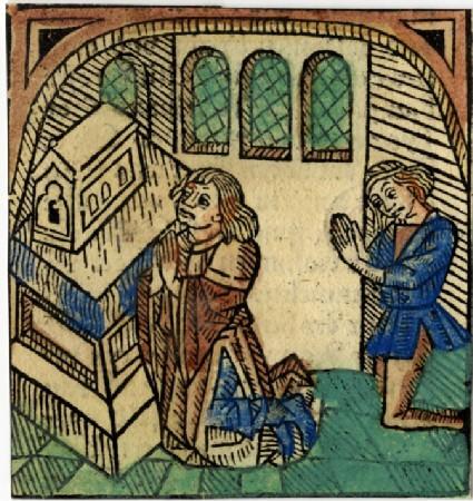 Recto: Two men kneeling in prayer<br />Verso: Letterpress