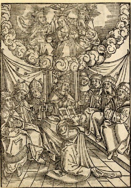 The author presenting the book to the king, the coronation of the Virgin above
