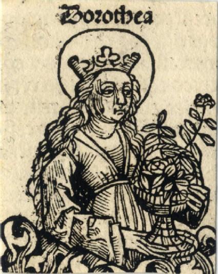 Recto: Saint Dorothy<br />Verso: letterpress