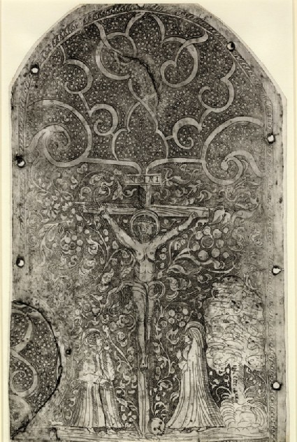 Christ on the cross with the Virgin to the right and St John to the left, possibly a modern forgery