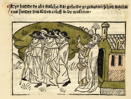 A hermit blessing a group of pilgrims