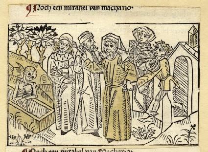 A man dragging a boy towards a skeleton