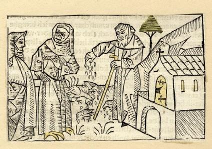 Two nuns and a clergyman feeding birds