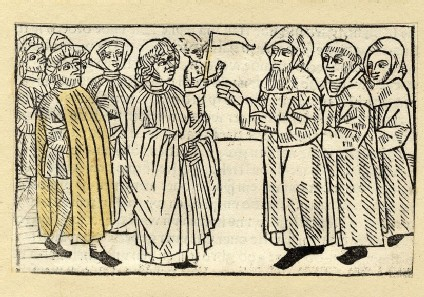 Townspeople, devil and clergymen