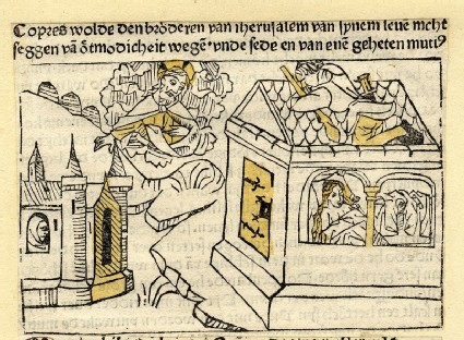 A man peeks into the house of woman, a saint beholds from the sky