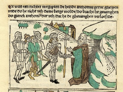 A captured man is brought to an anchorite